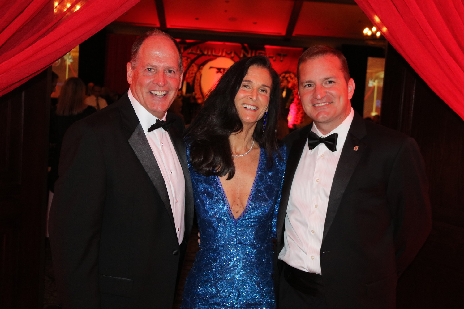 Rotary Club of Ponte Vedra Beach President-Elect Mark Farrell, President Elect-Elect Vickie Cavey and 2017-2018 President Billy Wagner gather at the club's James Bond-themed Mineral City Celebration, held on April 7 at the TPC Sawgrass Clubhouse.