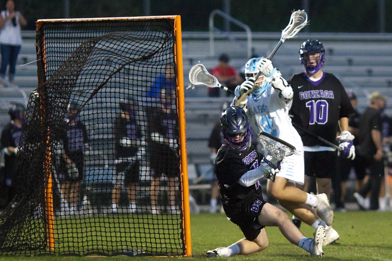 Ponte Vedra's Walker Azzaro beats the Gonzaga goaltender for a Sharks goal last Friday, April 6. Ponte Vedra ultimately lost to the Washington, D.C.-based school 9-6.