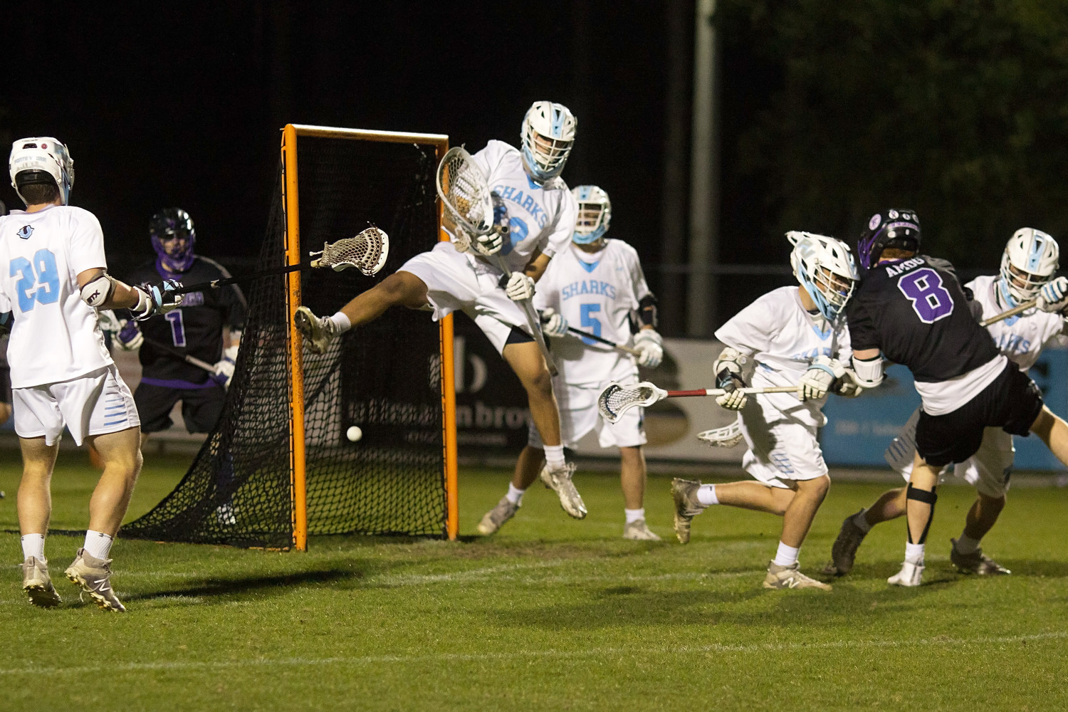 Ponte Vedra goalie Wyatt Schupler makes an acrobatic save against Gonzaga.