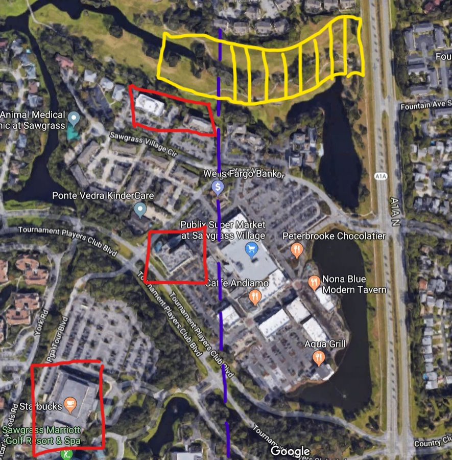 A map provided by Vineyard illustrates his arguments regarding the potential Oak Bridge development. He provides a key below. 