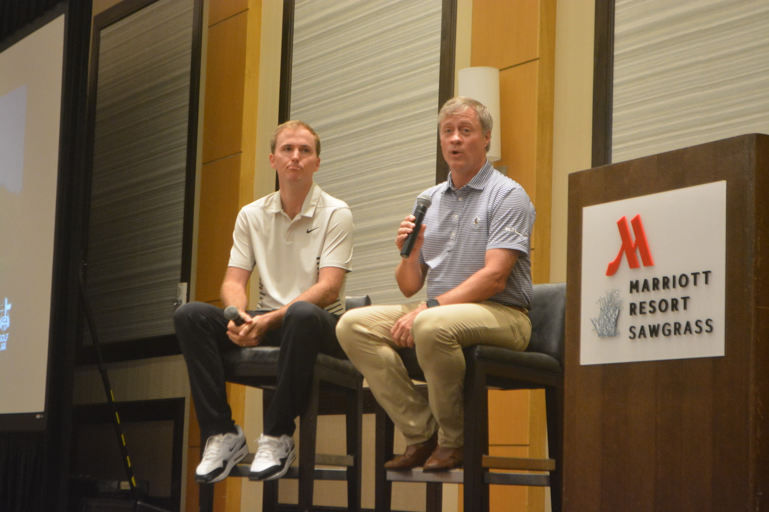 PGA TOUR golfer Russell Henley (left) discusses his career, his Christian testimony and more at the Fellowship of Christian Athletes' annual Golf Breakfast with the Pros event at Sawgrass Marriott Golf Resort & Spa on Wednesday, May 9.