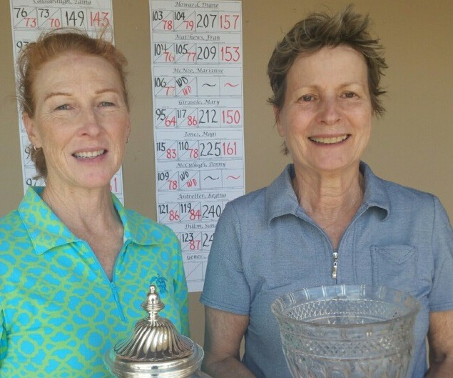 The Plantation at Ponte Vedra Beach Ladies Golf Association Low Gross Champion Tama Caldabaugh (left) stands with the PLGA President's Cup Low Net winner Beatriz Coles on Thursday, May 3.