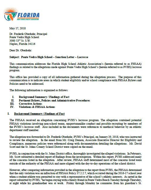 Page 1 of the letter from FHSAA to PVHS