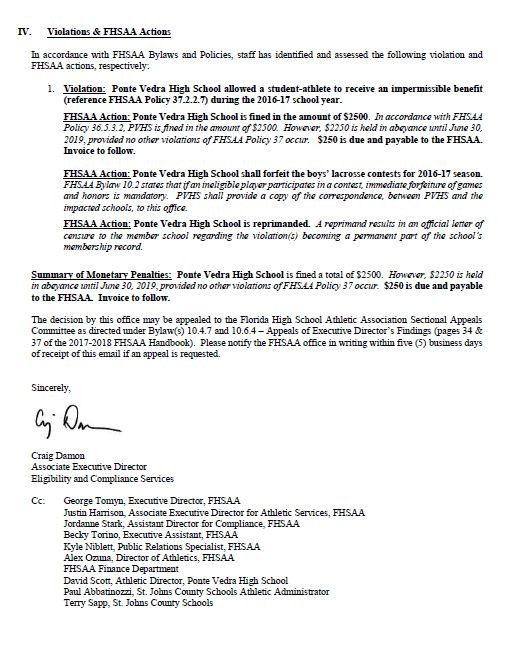Page 3 of the letter from FHSAA to PVHS