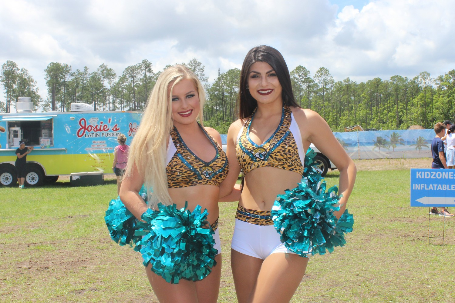 Jacksonville Jaguars cheerleaders attend the Nocatee Farmers Market on May 19 for a special Jaguars rally.