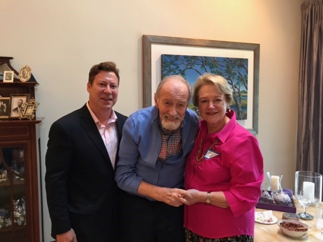 Democratic U.S. Congressional Candidate for Fl-04 Ges Selmont (left) stands alongside Dan Hodes and Barbara Haugen, who held a meet the candidate forum at their home in Ponte Vedra Beach on Friday, June 1.