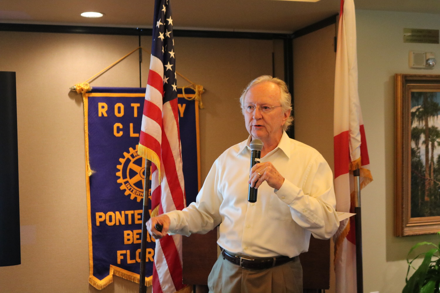 CTTF member Greg Leonard addresses the Rotary Club of Ponte Vedra Beach at Marsh Landing Country Club on May 31.