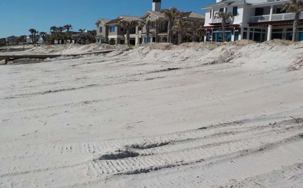 A Florida Department of Environmental Protection photo shows the impacts of noncompliant sand scraping on the beach off Ponte Vedra Boulevard. Four Ponte Vedra Boulevard residents are being fined $58,000 for such activity.