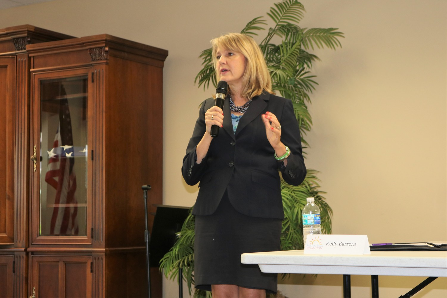St. Johns County School Board District 4 Representative Kelly Barrera shares her platform at a June 25 candidate forum hosted by the Ponte Vedra Beaches Coalition.
