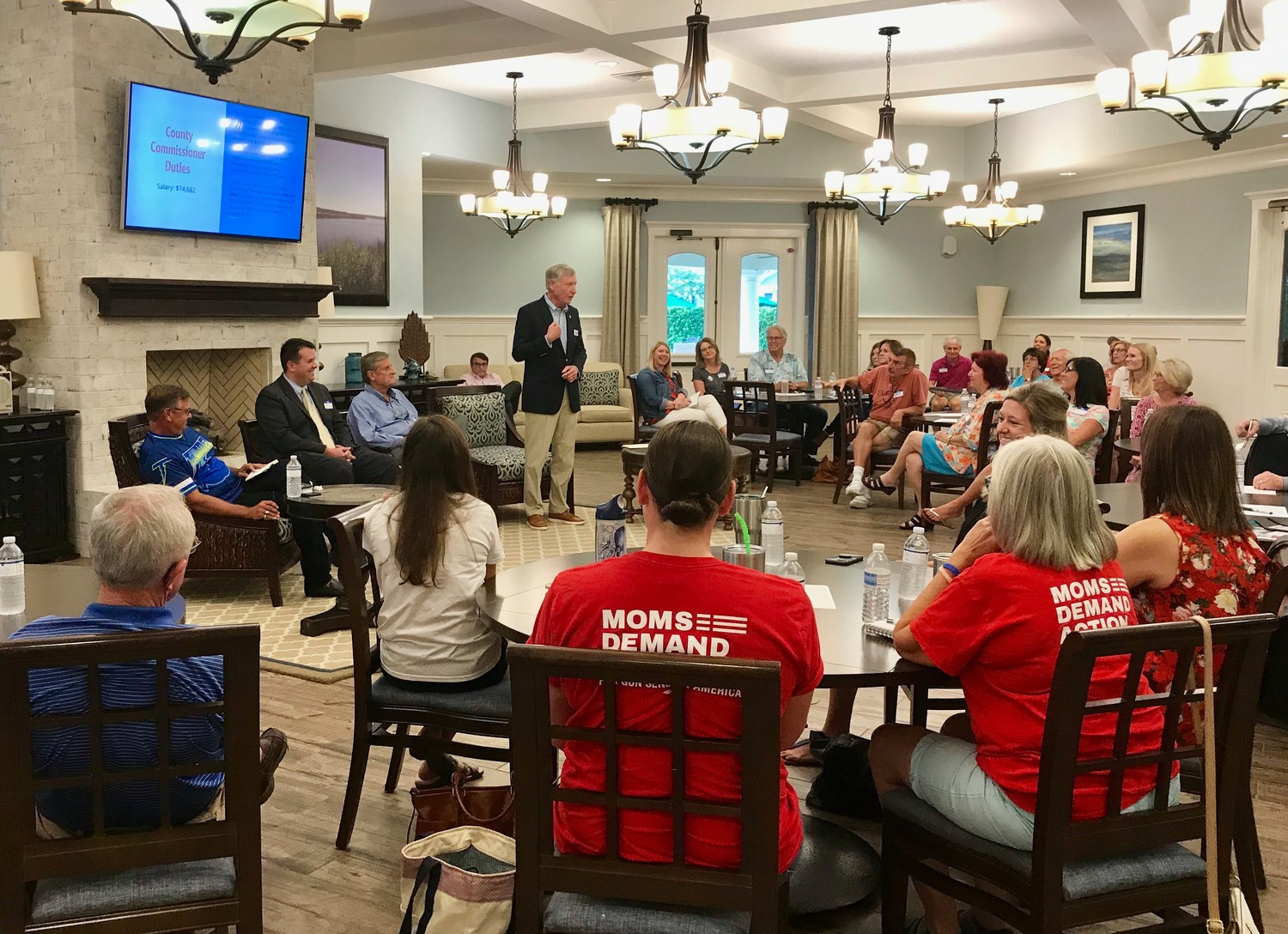 County Commission District 4 candidate Dick Williams addresses attendees of the Meet the Candidates event June 27 hosted by the St. Johns County chapter of Moms Demand Action for Gun Sense in America.