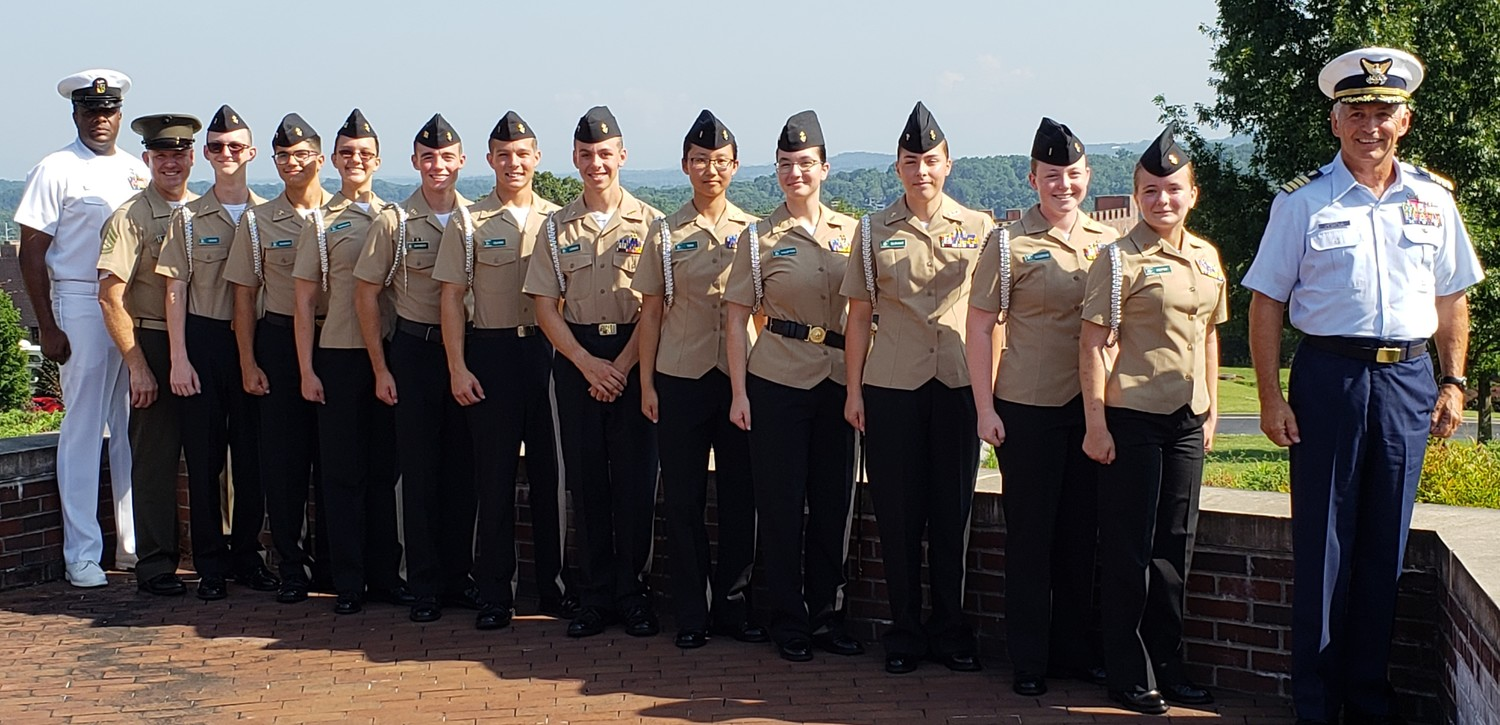 Nease NJROTC instructors and cadets recently completed the Area 12 Leadership Academy at Riverside Military Academy in Gainesville, Georgia. Pictured from left to right: Master Chief Duane Spears, Gunnery Sergeant Duane Hanson, Hayden Rowe, Elkhan Bagirov, Sinead Morgan, Troy Barber, Christopher Oliver, John Lemos, Yuan Tian, Anna Hampton, Erin Durant, Lindy Gostage, Teagan Pettit and Captain Scott LaRochelle.