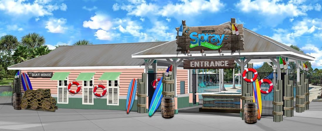 A rendering illustrates the Boat House, which will be the gated front entry to Nocatee Spray Park.