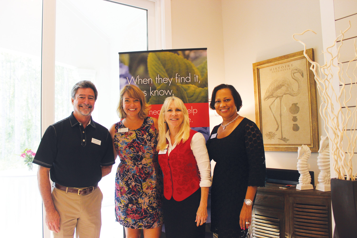 "Glenn Layton, Toni Boudreaux, Ricki Taylor and Katrina Watkins gather at the Chamber ""After Hours"" event July 25 at The Hammock at Twenty Mile."