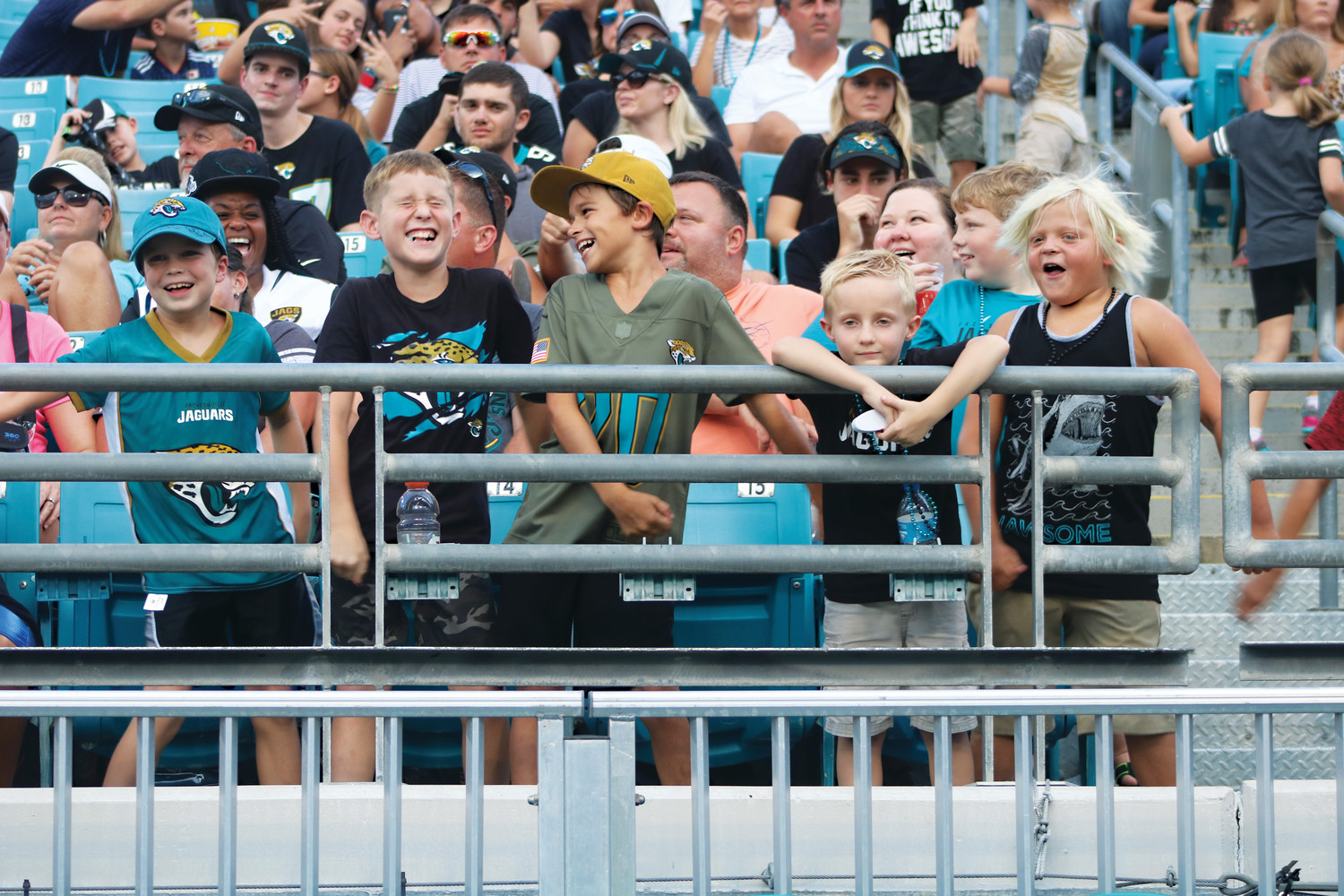 A group of younger Jaguars fans enjoys the scrimmage.