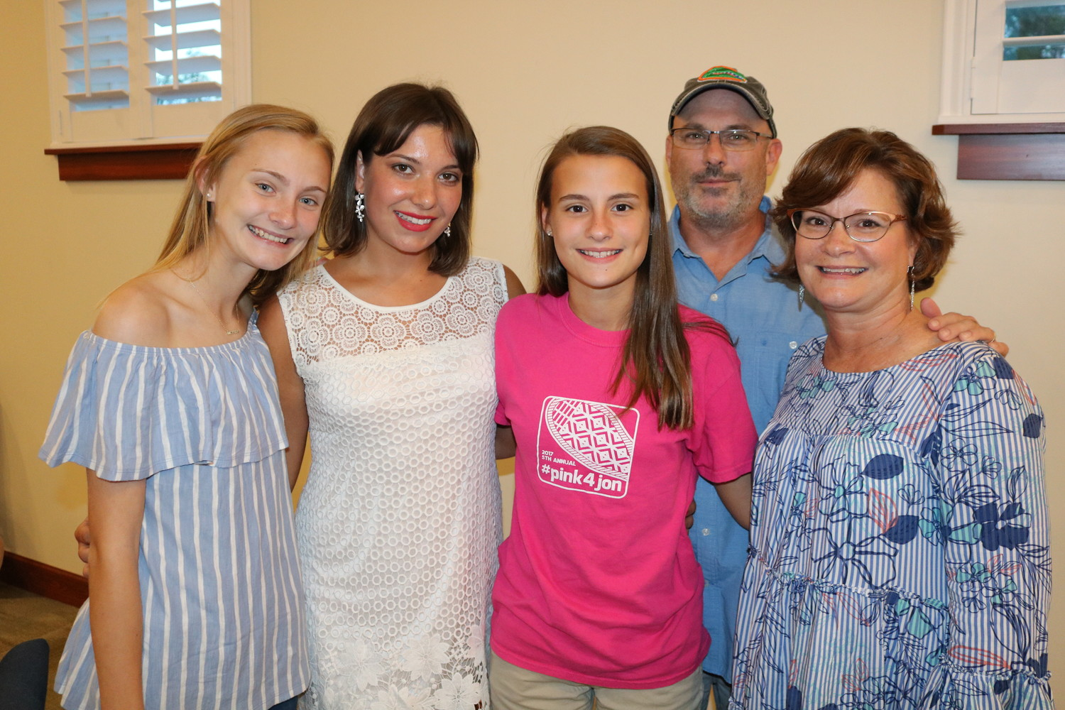 Marija (center left) celebrates the end of the summer with one of her two host families. Pictured from left: Sophie Johnson, Marija, Nicole Johnson, Daron Johnson and Judy Johnson.