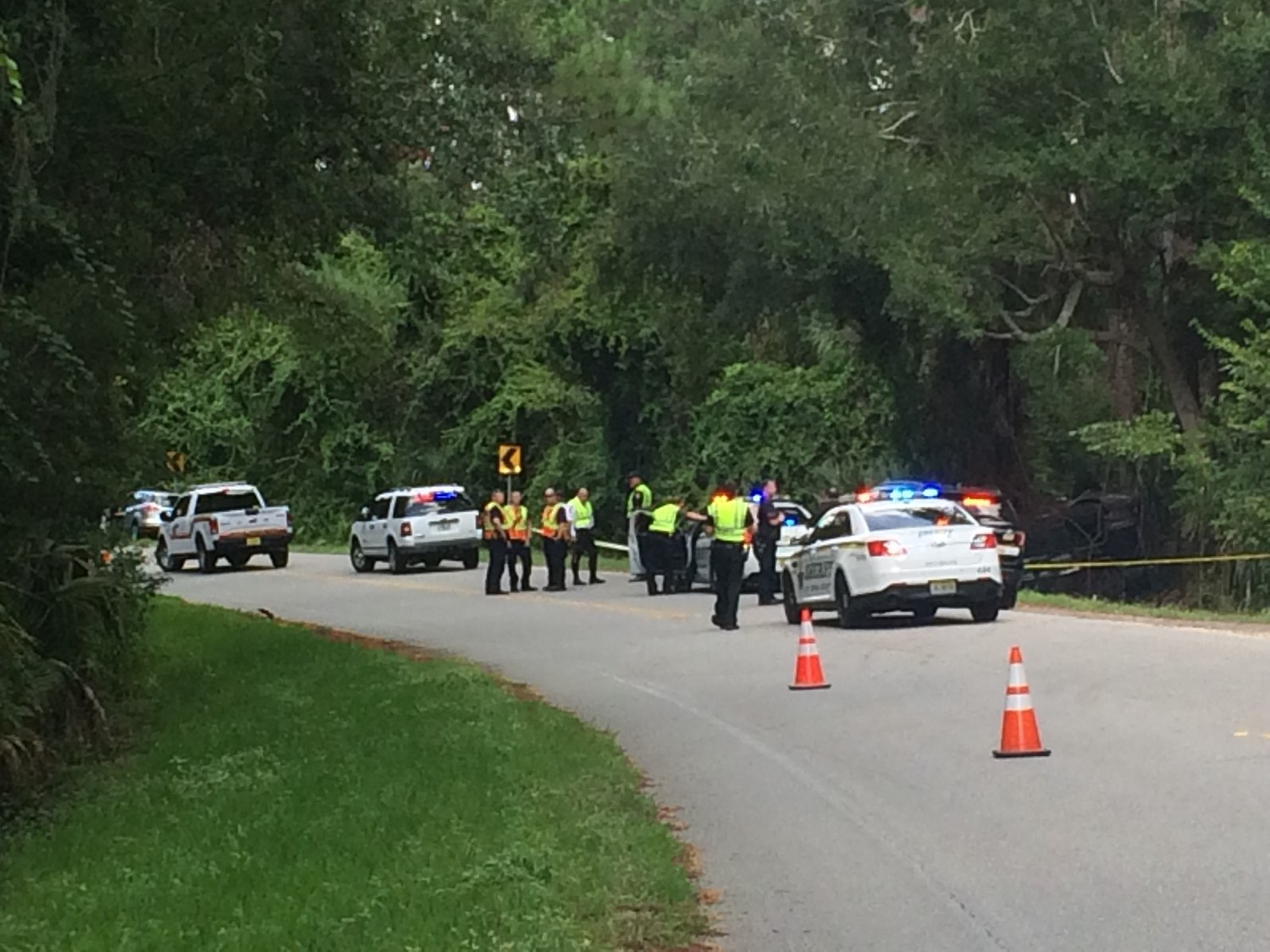 Authorities respond to a fatal car crash Monday morning on Solana Road in Ponte Vedra Beach.