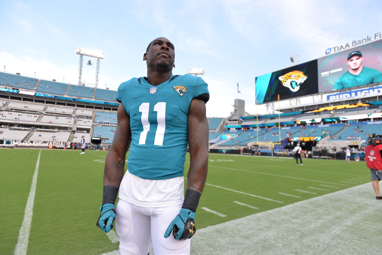 Jaguars wide receiver Marqise Lee is out for the season after suffering a knee injury during last Saturday's preseason game against the Atlanta Falcons.