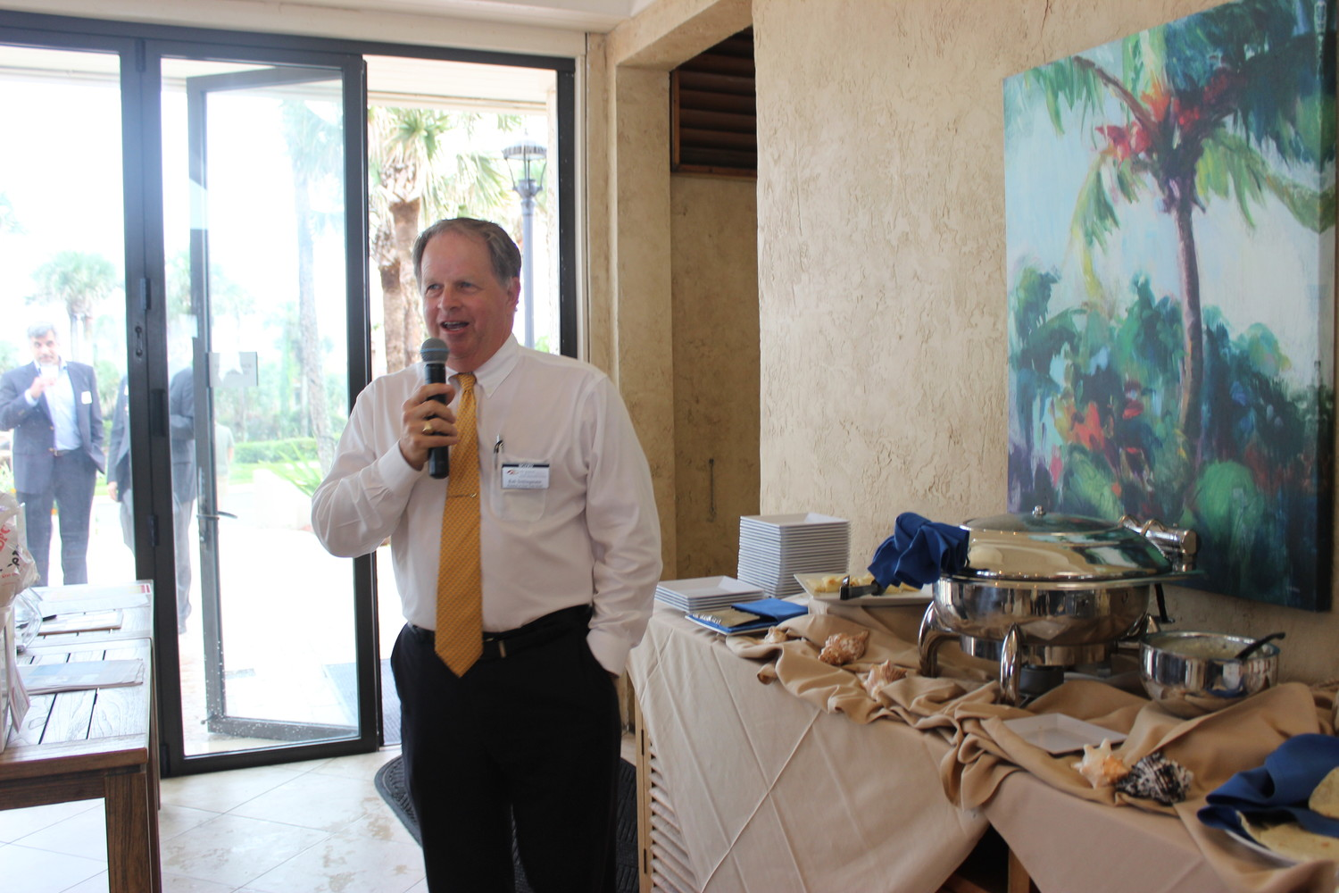 "Rob Schlingmann, the general manager of The Plantation at Ponte Vedra Beach, addresses attendees of the Chamber ""After Hours"" event on Aug. 22."