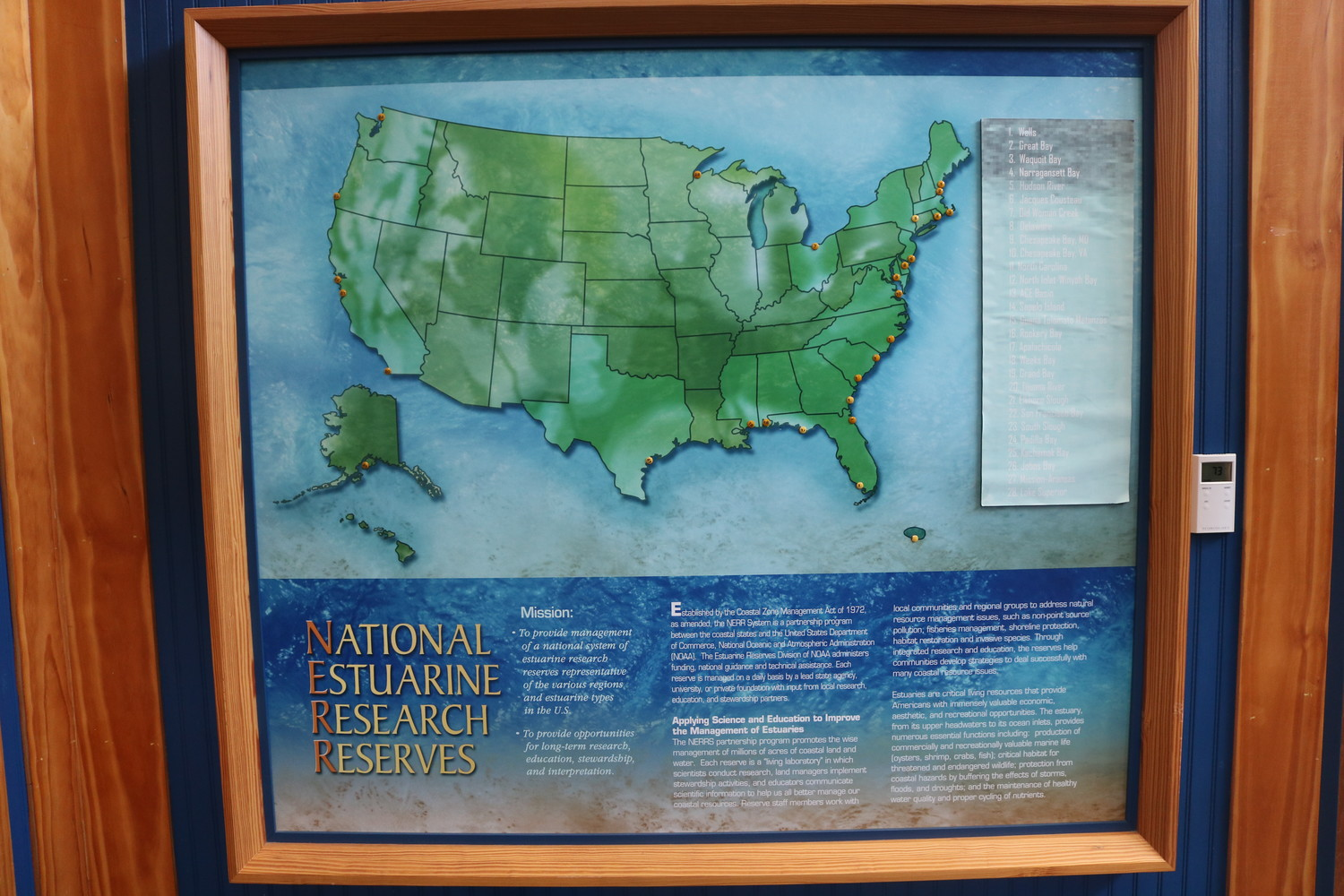 A chart at the GTM Research Reserve displays other National Estuarine Research Reserves in the United States.