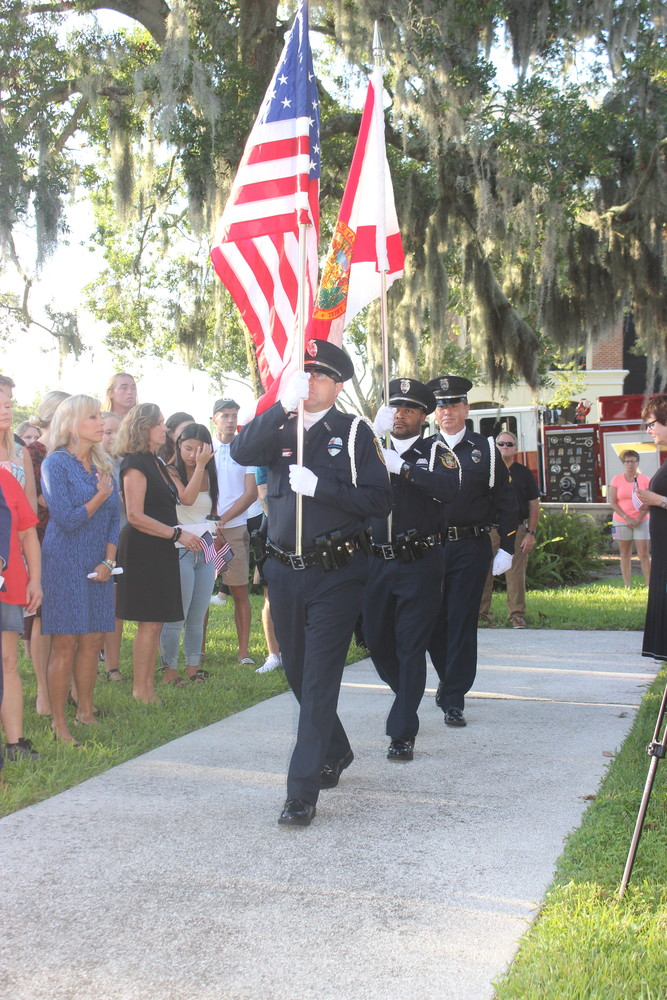 The St. Augustine Police Department Honor Guard completes a presentation of the colors.