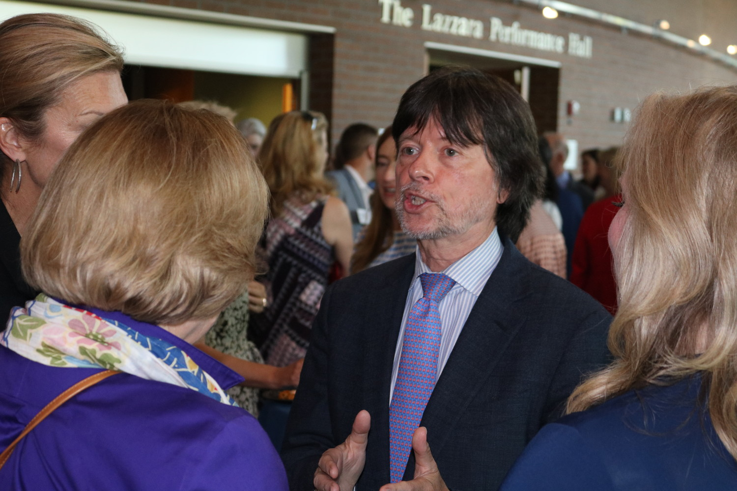 Ken Burns meets with attendees of the screening at a VIP reception.