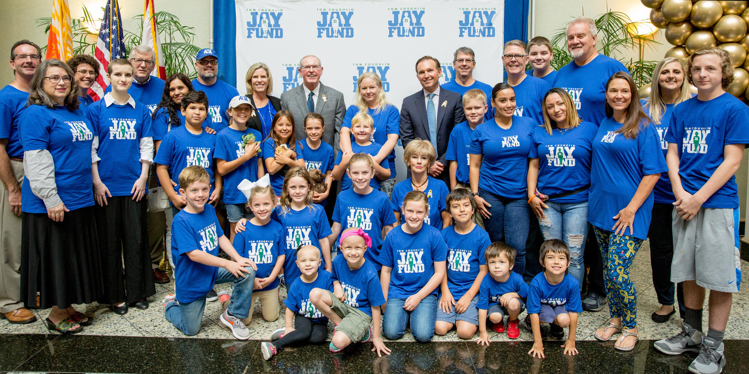 Jay Fund families gather with Keli and Tom Coughlin and Mayor Lenny Curry.