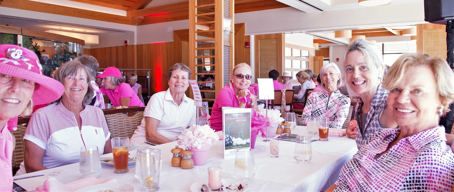 Becky Jewett, Jane Weekes, Beatriz Coles, Bev Gavant, Peggy Mitchell, Lori Adams and Ann Merrill enjoy the luncheon at the Pink Ribbon Golf Classic.