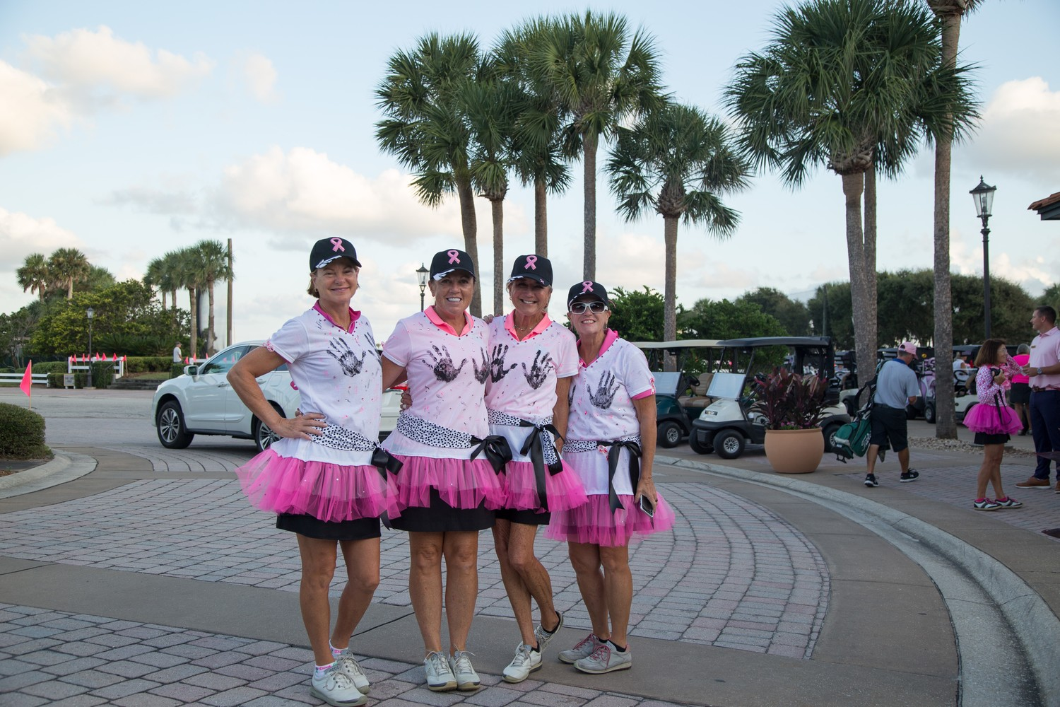 Page Semes, Maria Ayala, Janet Strickland and Nancy Huang gather at the Pink Ribbon Golf Classic Oct. 4 at Ponte Vedra Inn & Club.