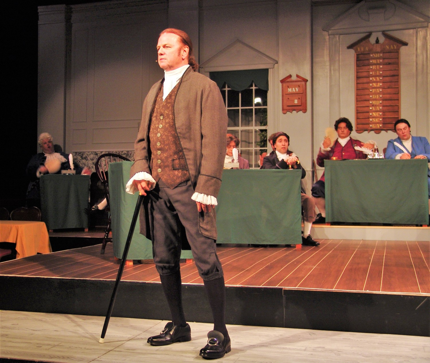 "Tony Award-nominated stage, TV and film actor Kevin Anderson portrays the lead role of John Adams in the Alhambra Theatre & Dining's production of ""1776."""