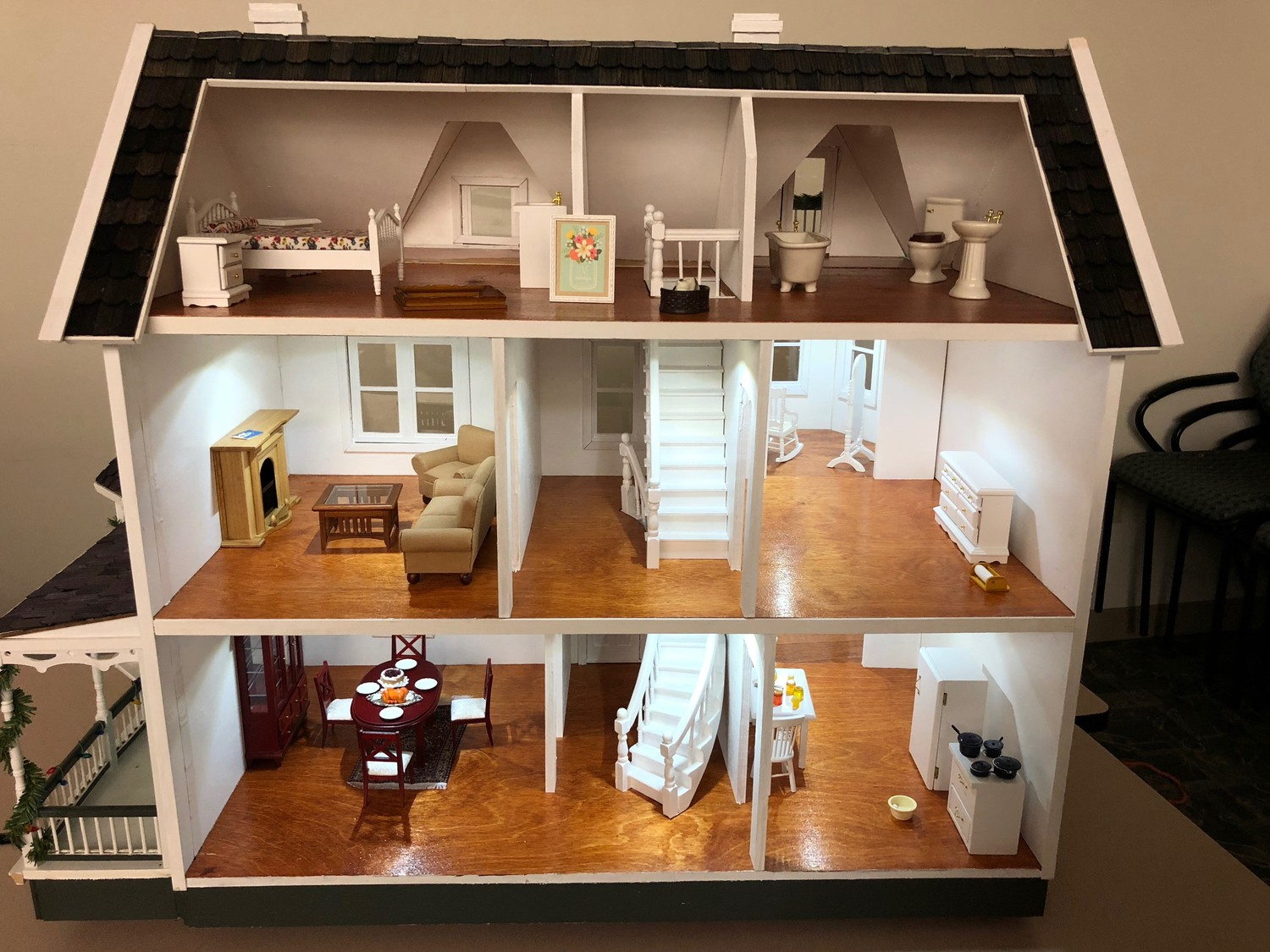 Some of the houses built by Hoffman and his helpers include special touches, like battery-powered lighting and furniture.
