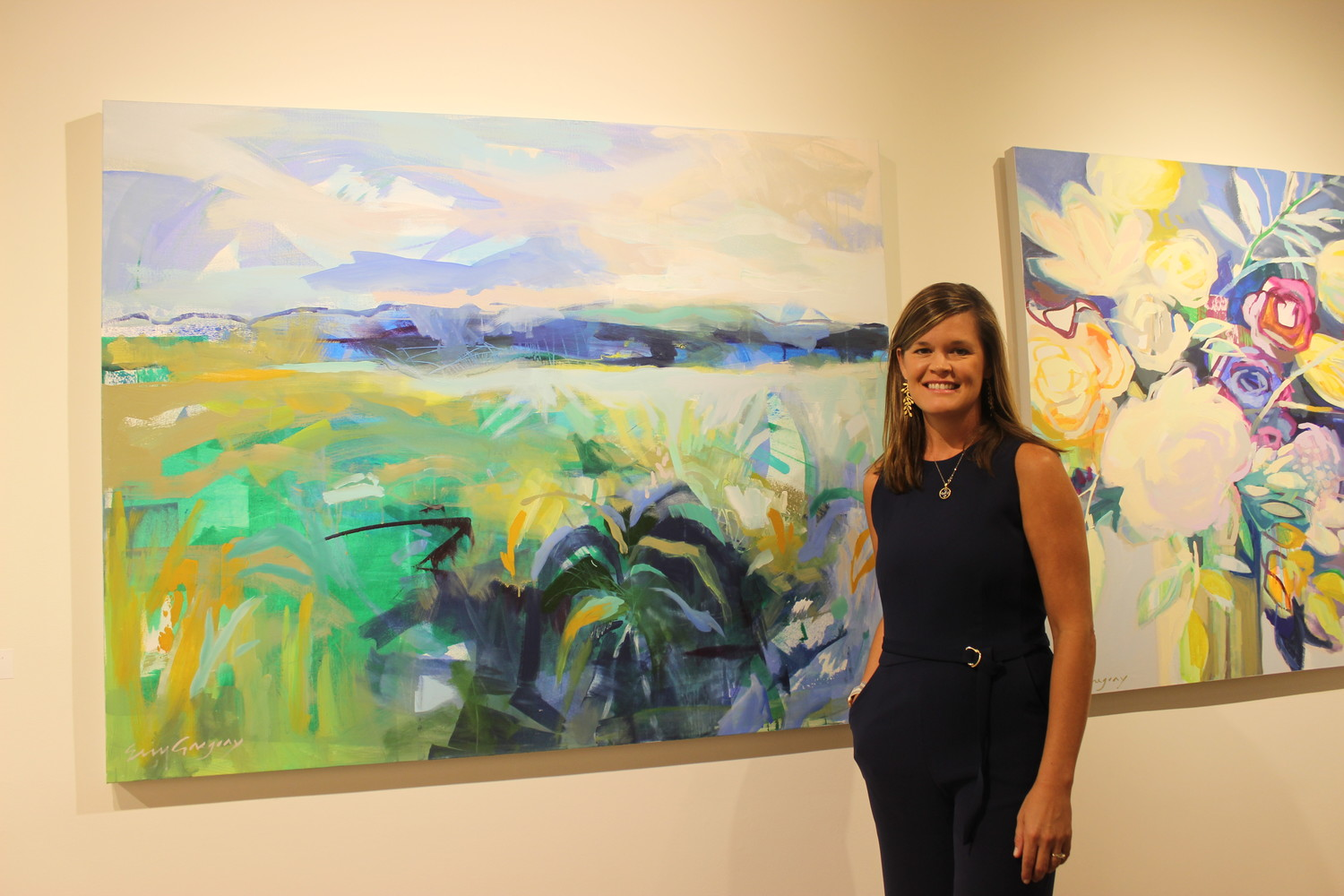 Artist Erin Gregory stands with her art at Stellers Gallery at Ponte Vedra Beach on Oct. 5 for the gallery's opening reception of its fall exhibition.