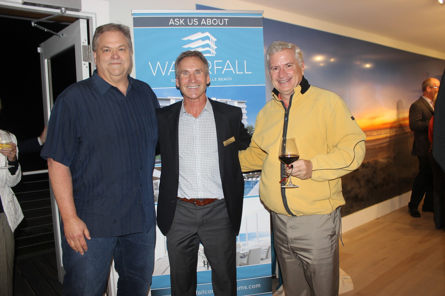 Tim Deck, Bryan Weber and David Fitzgerald gather at a special event hosted by Waterfall Condominiums in Jacksonville Beach on Nov. 15.