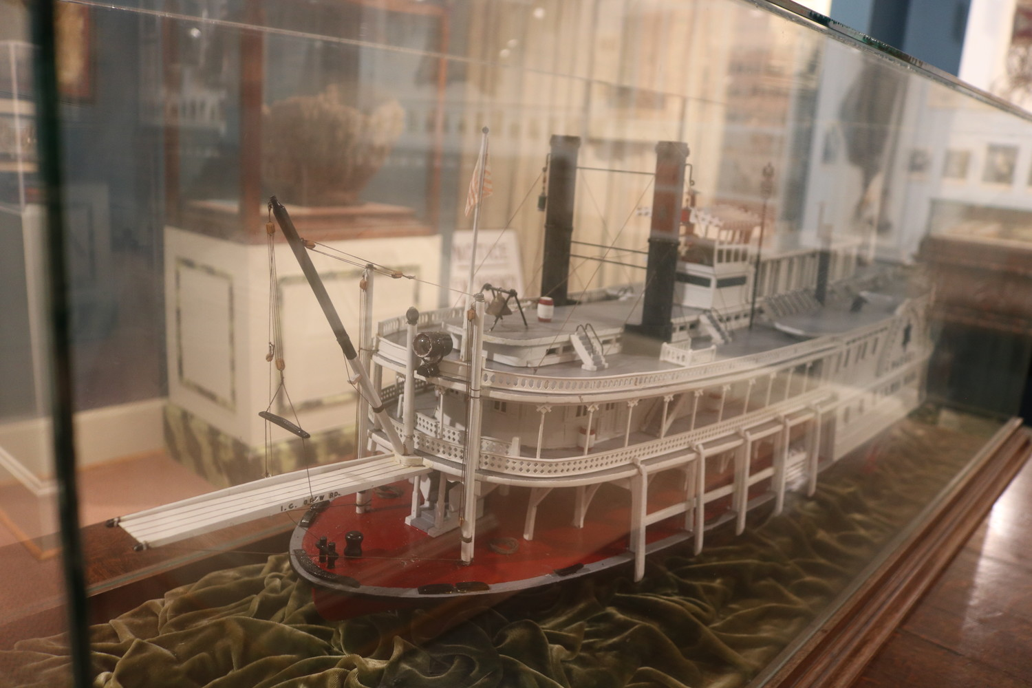 Displayed is a model of the River Packet boat, which was originally built for Pittsburgh, Brownsville and Geneva Packet Co. This scale model was made in the 1930s by Raymond Urban and Carl Koch.