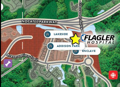 A map shows the location where the new Flagler Health Village will be located in Nocatee.