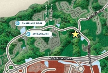 A map shows the expected location of Oakwood at Nocatee, a new gated townhome community coming to the community in fall 2019.