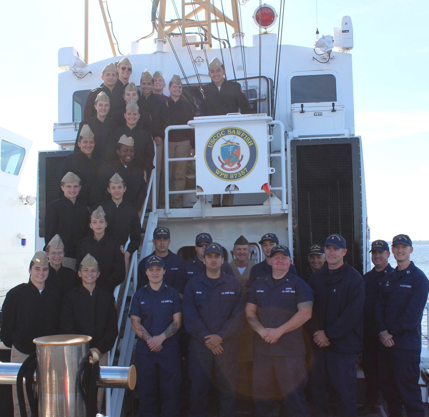 Nease NJROTC cadets sail with the crew of the Coast Guard Cutter Sawfish on Dec. 6.