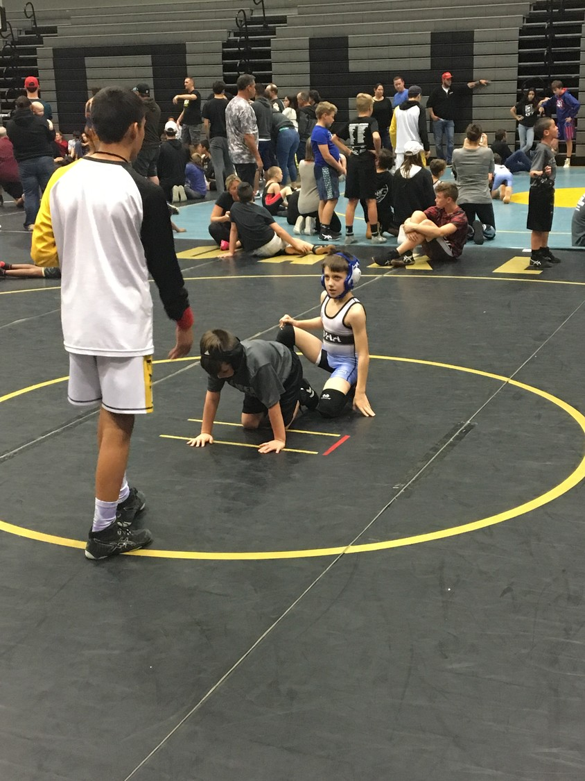 Vince Myers gets ready to mount his opponent at the Oakleaf tournament.