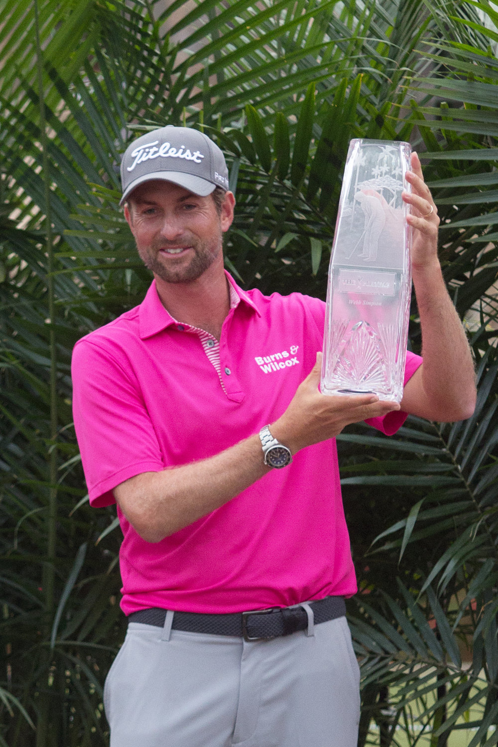 THE PLAYERS 2018 winner Webb Simpson displays the trophy.