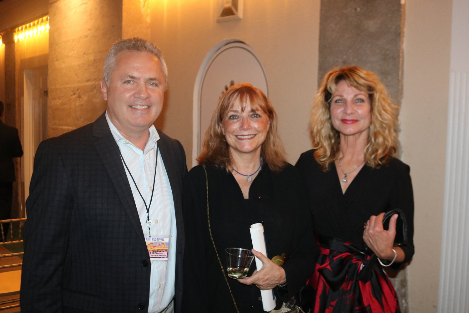 Actress and director Karen Allen (center) stands with The Corazon Cinema & Café Owner Karla Wagner and husband Bob.