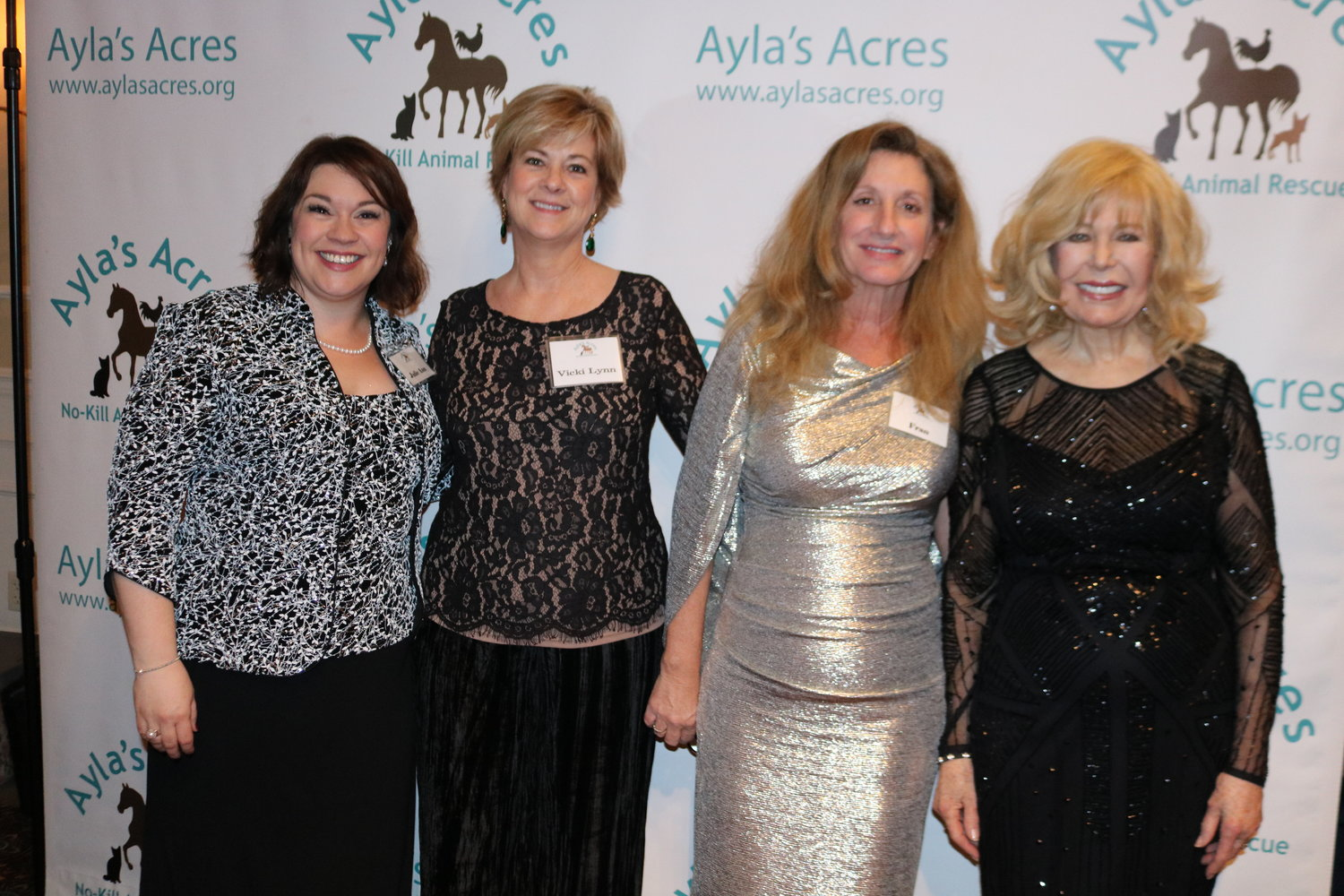 "Julie Ann Brunsky, Vicki Lynn Marra of Underwood Jewelers, Ayla's Acres Executive Director Fran Charlson and Loretta Swit gather at the nonprofit's ""Rollin' Down the Matanzas Casino Night"" fundraiser at the River House in St. Augustine on Feb. 2."