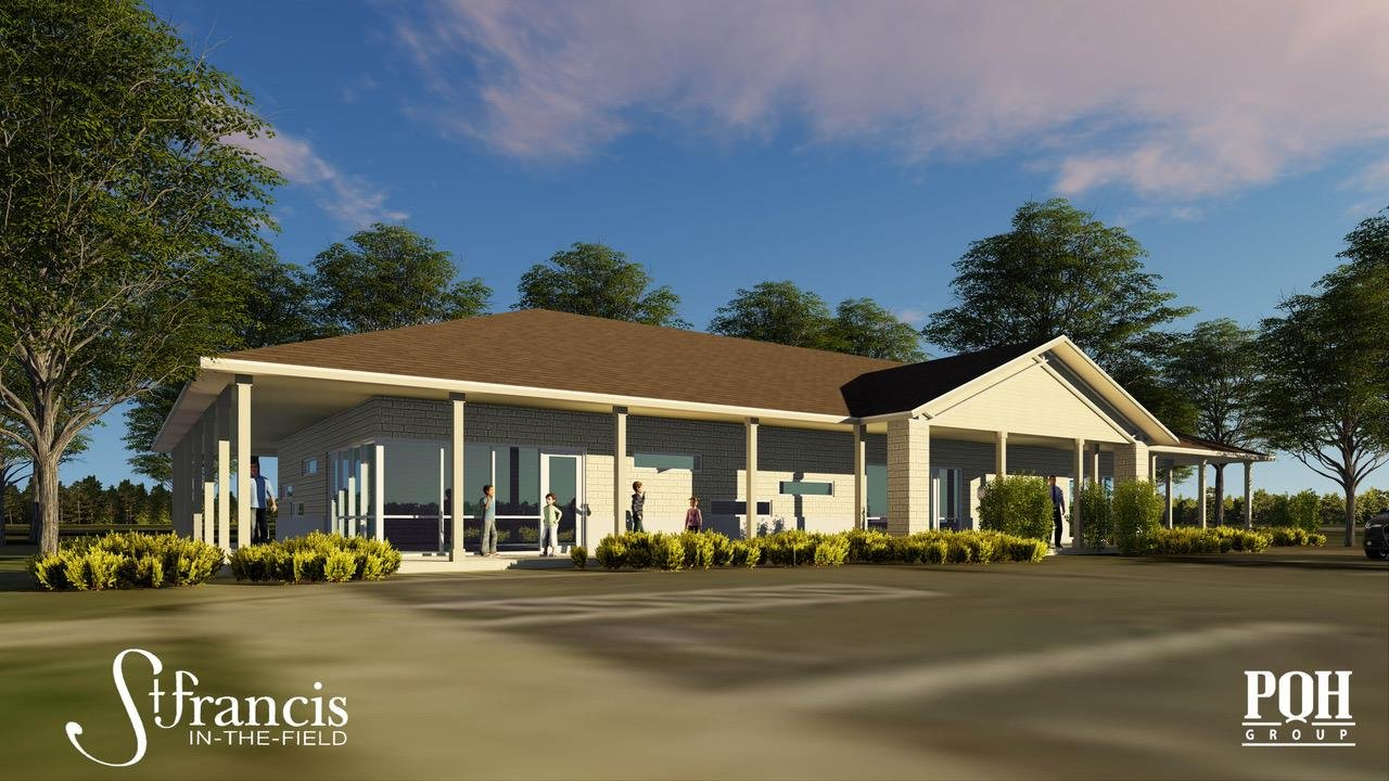 A rendering shows the plans for St. Francis in-the-Field Episcopal Church's new Founders Youth Building.