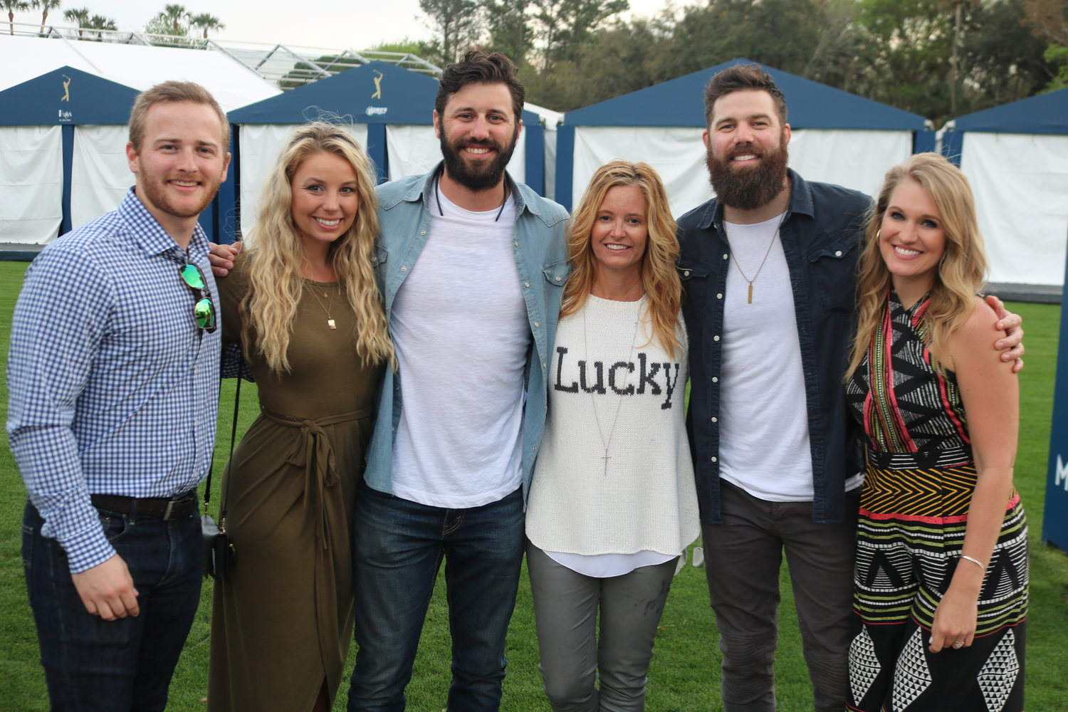 Chad Sutton, Mariah Sutton, Zach Sutton, Tabitha Furyk, Jordan Davis and Kristen Davis at the concert at TPC Sawgrass