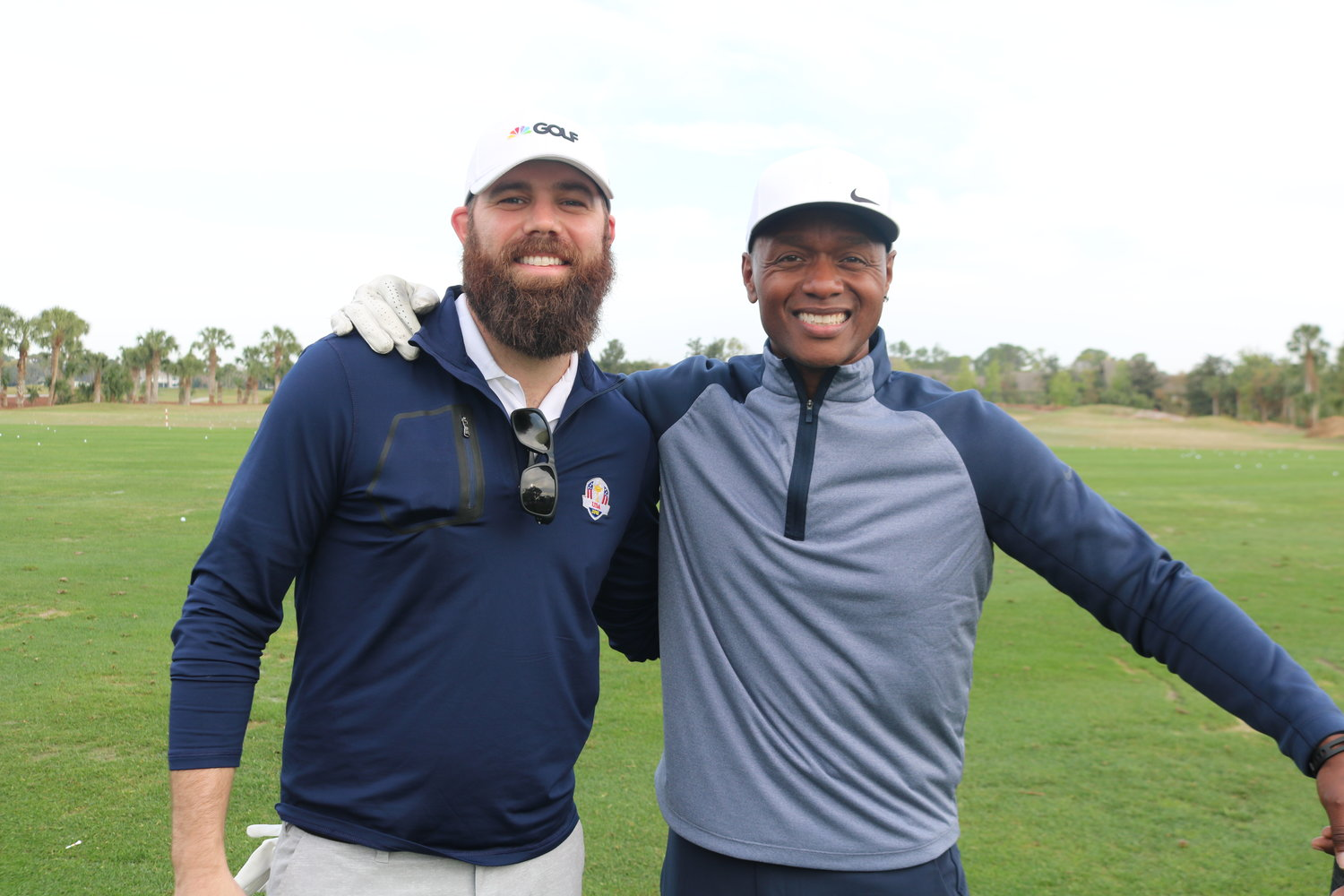 Jordan Davis and Javier Colon at the golf tournament at Sawgrass Country Club