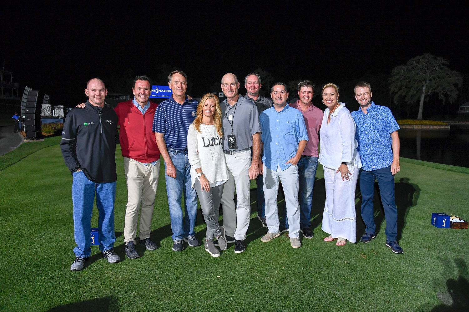 Tommy Gainey, Len Mattiace, Davis Love, Tabatha and Jim Furyk, Michelle McGann and Russell Knox at the Furyk and Friends charity shootout at TPC Sawgrass