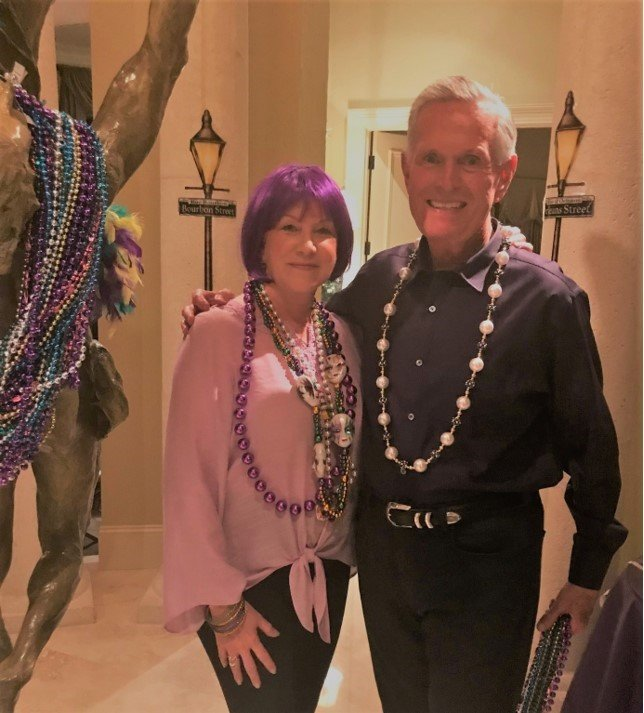Rhendy and Bill Rowe enjoy hosting a Mardi Gras party at their home in Marsh Landing on March 2.