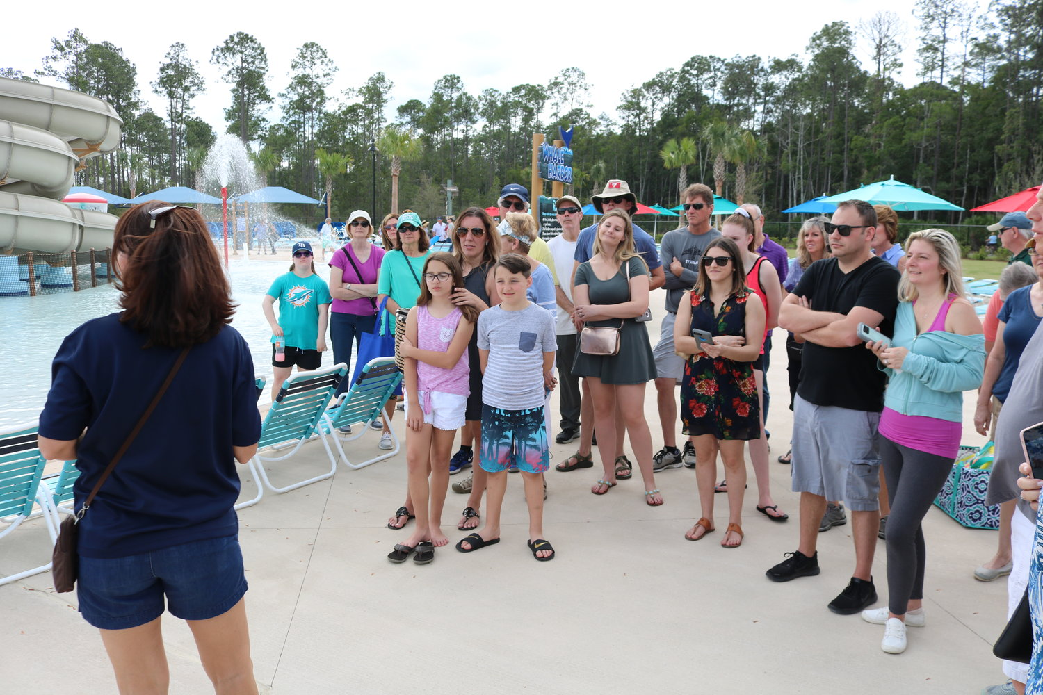 A Nocatee employee takes a group on a tour around the Spray Water Park.