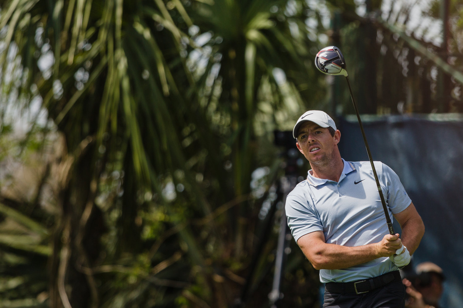 Rory McIlroy watches his shot soar down the fairway. He's in fifth place at 5-under par after one round at THE PLAYERS.
