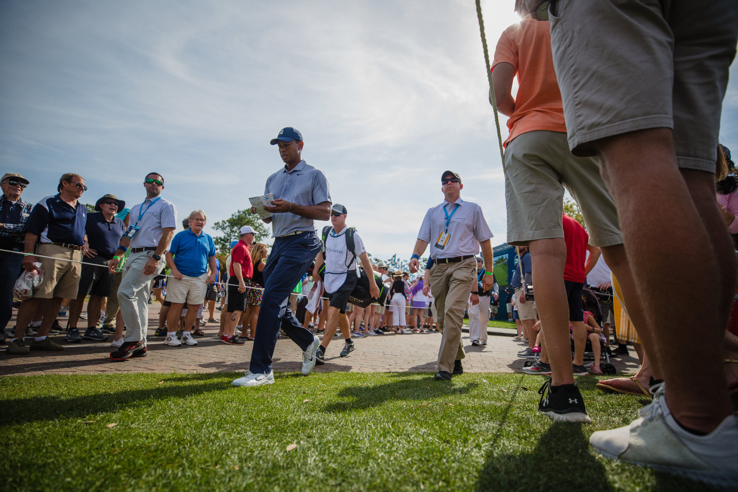 Tiger Woods walks to the next hole Friday at THE PLAYERS.