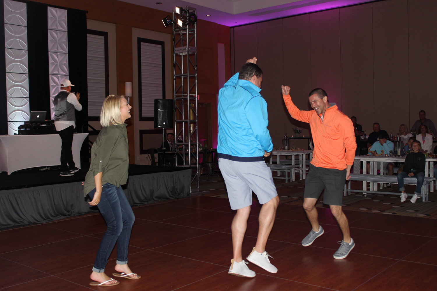 Guests have fun dancing at the event.