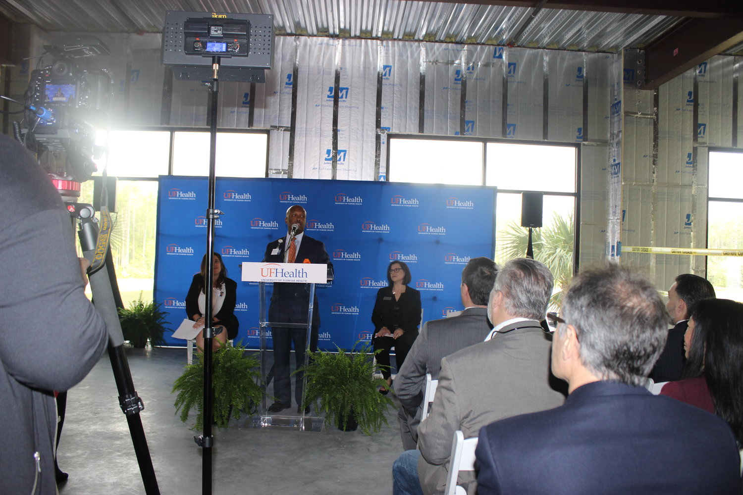 Dr. Leon L. Haley Jr., CEO of UF Health, addresses attendees of the event.